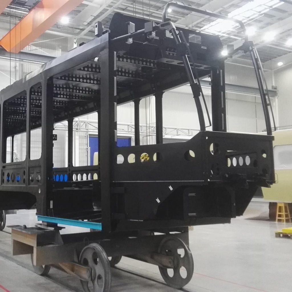 Skelet předního článku nové tramvaje Tango NF2 Ostrava. (foto: Dopravní podnik Ostrava)