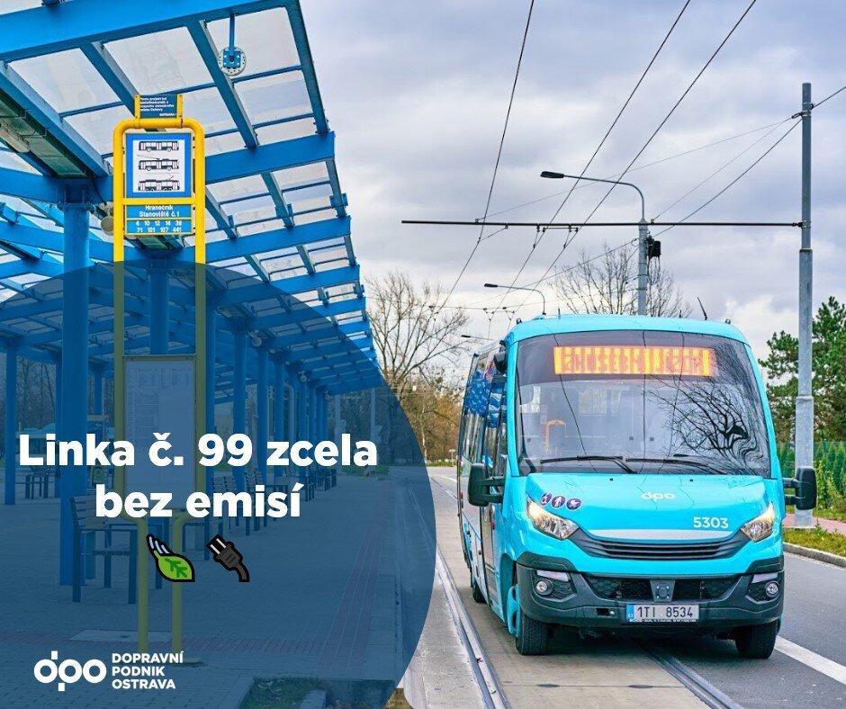 Znovuobnovení provozu linky číslo 99 provázela řada problémů. Poslední přešlap byl už spíše úsměvný, když dopravce publikoval na facebooku tento obrázek s titulkem, že linka číslo 99 jezdí již zcela bez emisí. Ve skutečnosti ale vyjely elektrobusy na linku až po týdnu. (zdroj: facebook DPO)