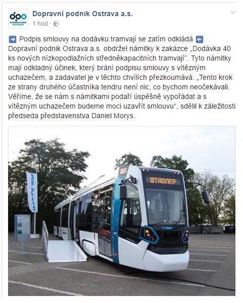 Zdroj: Facebook Dopravního podniku Ostrava
