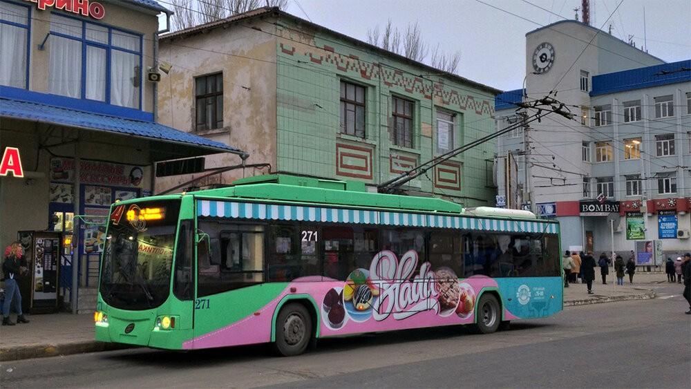 Tiraspolský trolejbus dne 19. ledna 2020 v sousedním městě Bendery, kde existuje také samostatná síť (viz reportáž z konce roku 2018). (foto: Viktor)
