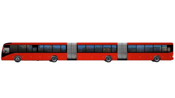 Vizualizace (skoro) nejdelšího autobusu na světě od Volva. (zdroj: Volvo Truck & Bus)