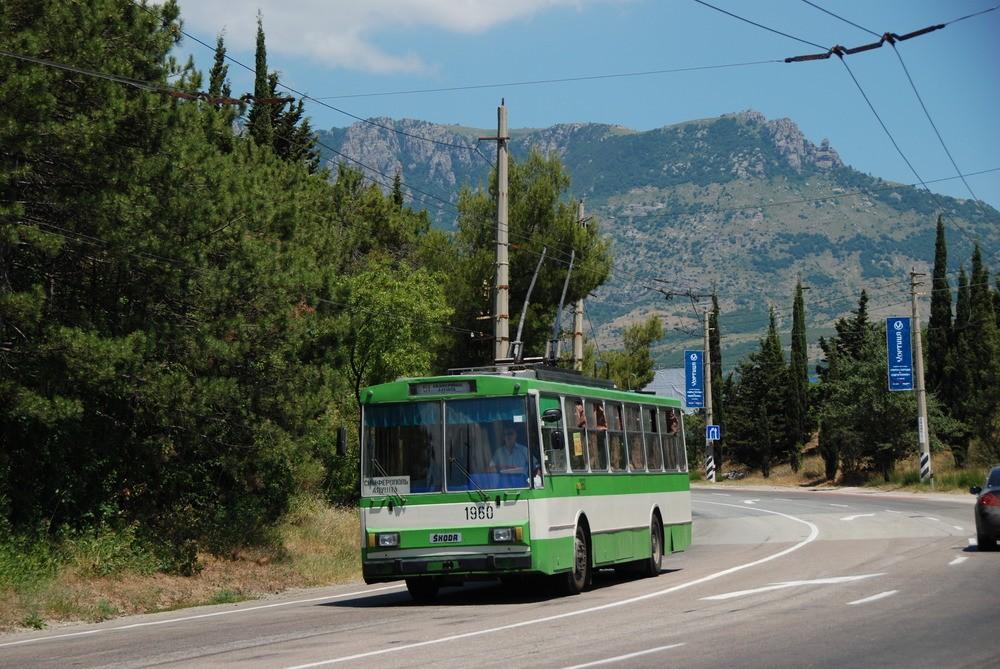 Nádhernou krajinou hor a vinic vede meziměstská trať Simferopol – Alušta – Jalta, která překonává horský průsmyk a klesá směrem k Černému moři. Na snímku jeden z vozů Škoda 14 Tr. (foto: Libor Hinčica)