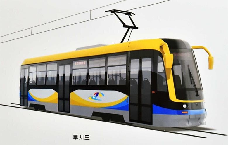 Designový návrh uzavřeného tramvajového vozu (zdroj: KCNA)