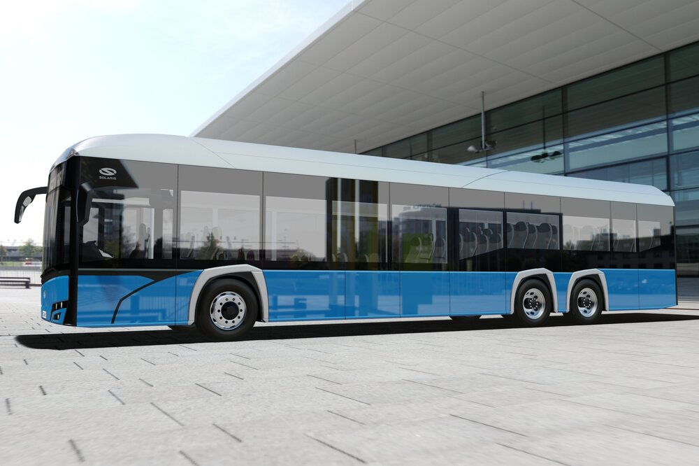 Solaris Urbino 15 LE Electric na propagační vizualizaci výrobce. (foto: Solaris Bus & Coach)