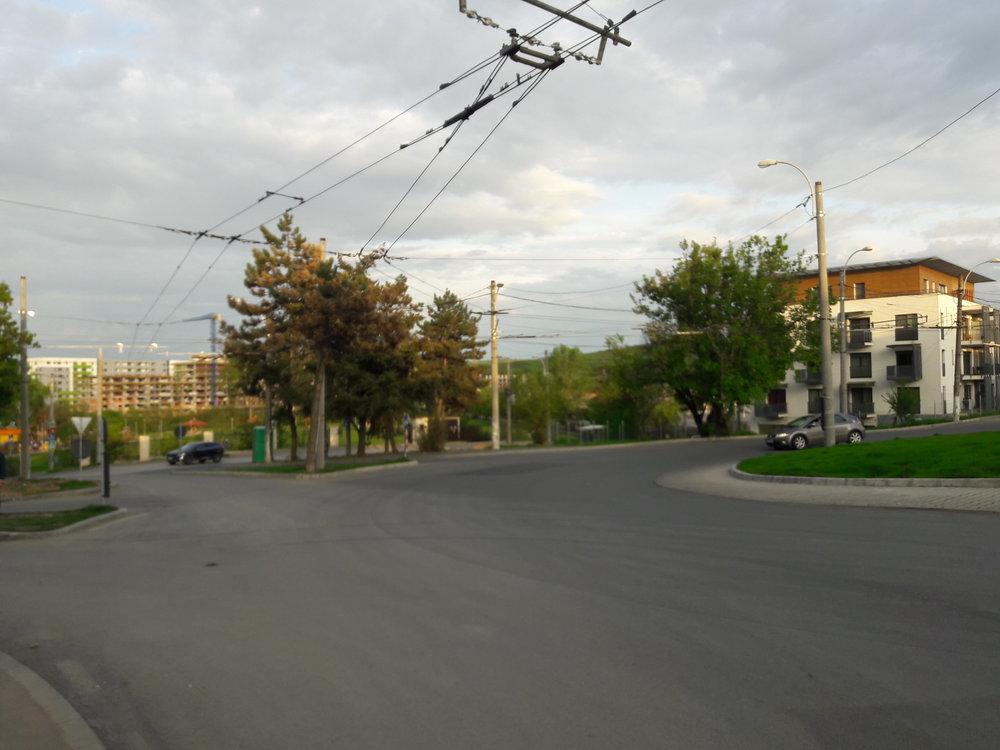 Zkruhového objezdu, který slouží jako konečná linky č. 3 a je průjezdný pro linku č. 25, vedou stopy i do nedaleké vozovny.
