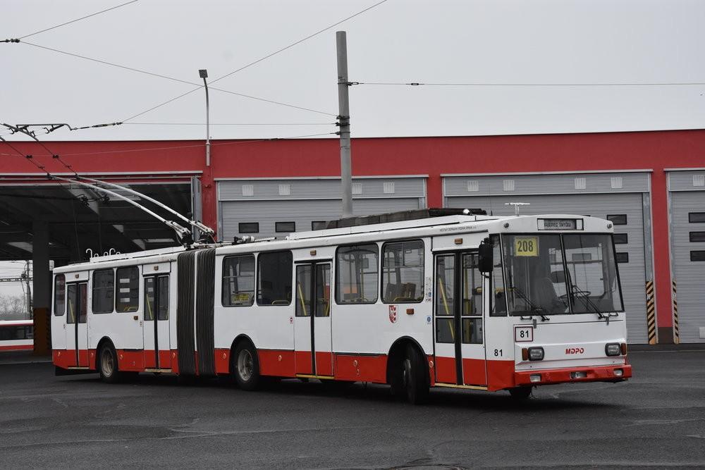 Ex-chomutovský trolejbus Škoda 15 Tr ev. č. 014 v Opavě. (foto: Libor Hinčica)