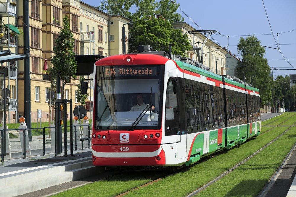 Vlakotramvaje Citylink bychom nalezli například v Chemnitz. (zdroj: Wikipedia.org)