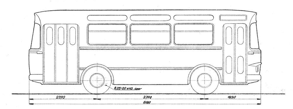 Autobus Karosa ŠM 8 na výkresu ze srpna 1962. (zdroj: archiv Iveco Czech Republic)