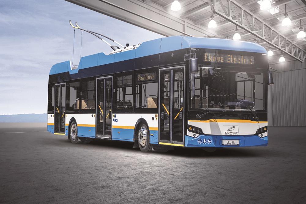 Trolejbus Ekova Electron na propagační fotomontáži výrobce. (foto: Ekova Electron)