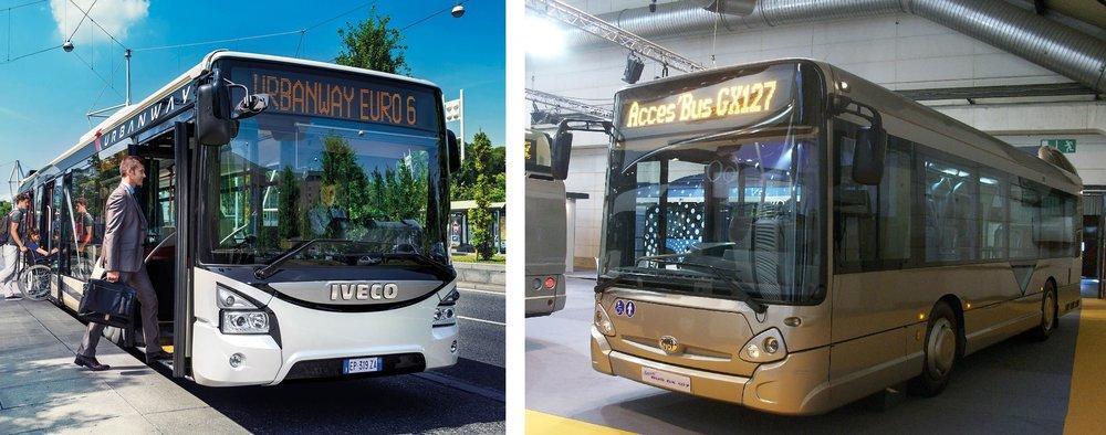 Urbanway (vlevo), nebo Heuliez (vpravo)? Již v úterý se představí nový elektrobus Škody Electric, který by měl být produktem spolupráce s Ivecem a využívat karoserii jednoho z těchto modelů. (zdroj: Iveco Bus a Wikipedia.org)