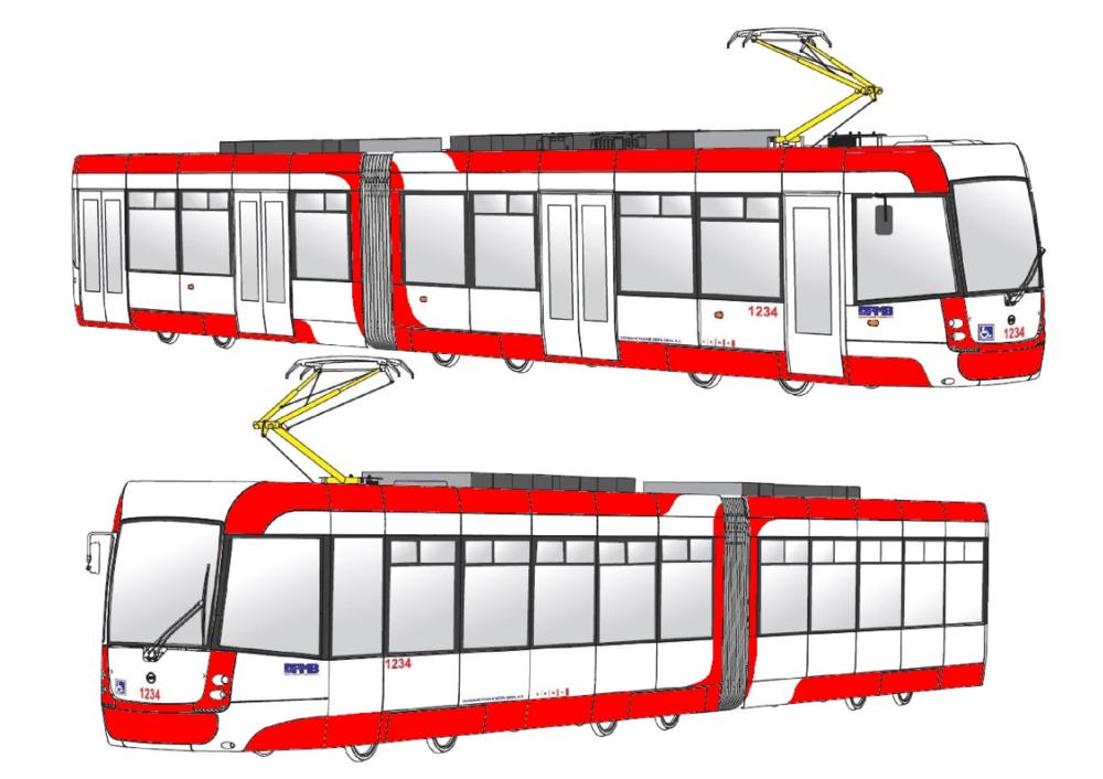 Vítězný návrh tramvaje EVO2. (zdroj: DPMB)