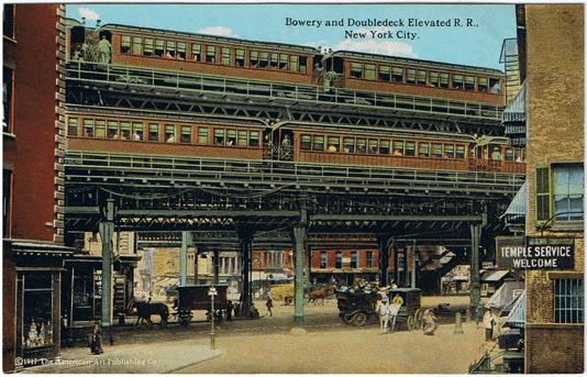 Dobová kolorovaná pohlednice vyobrazující vlaky nadzemky. (zdroj: Wikipedia.org)