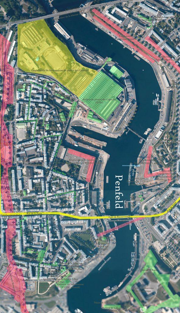 Situace s mosty, které dosud existovaly v Brestu, je zachycena zde. (zdroj: Monsieur W./Wikipedia.org)