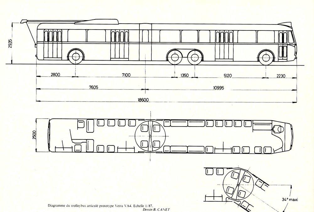 "Výkres trolejbusu VA 4 SR. (autor:Dessin B. Canet / repro zknihy ""Les trolleybus français"")"