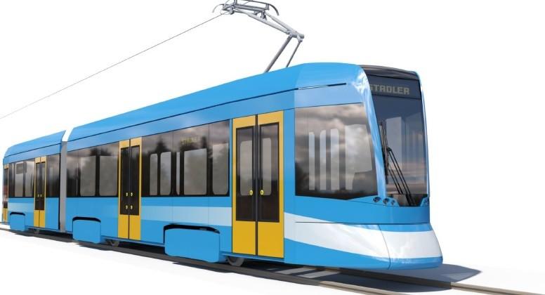 Upravený vzhled tramvaje od Stadleru. Jedná se o první ideový návrh vozidla. V následujících dvou měsících by měl být ještě dále upravován ve spolupráci s dopravcem. (zdroj: Stadler)