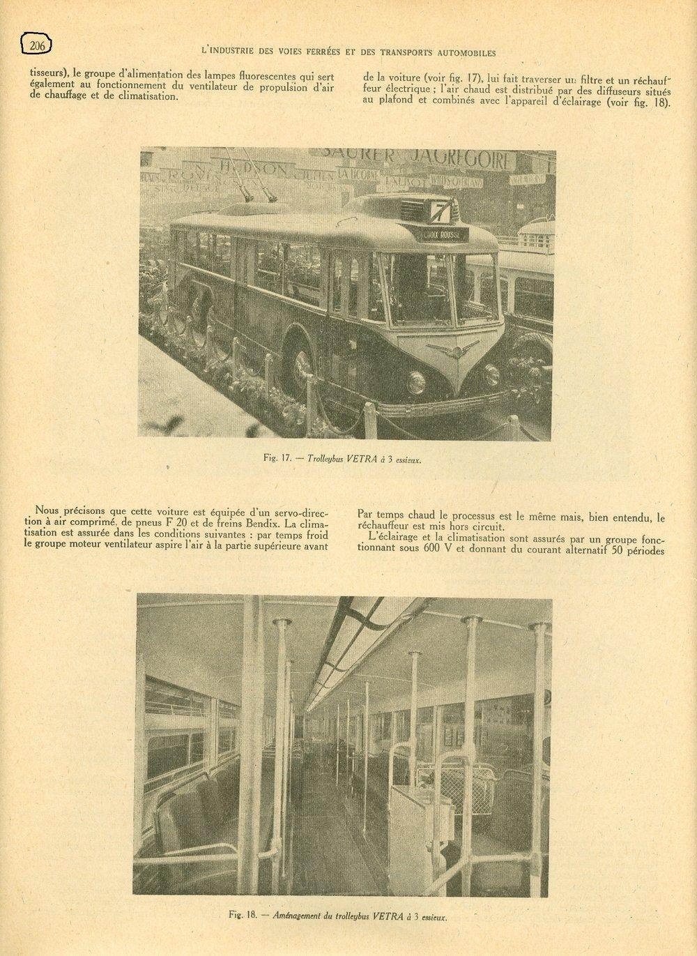 Časopis Union des Voies Ferrées et des Transports Automobiles  přinesl vjednom ze svých vydání zroku 1947 informaci oPařížském autosalonu konaném onoho roku a naní proběhlé prezentaci nového typu trolejbusu VA3, který se však dočkal sériové výroby až v50. letech. (zdroj: sbírka Jeana Capoliniho)