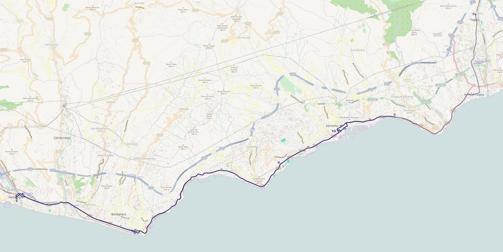 Mapa trolejbusové sítě v Sanremu a okolí. Tečkovaně zrušená trať. (zdroj: Wikipedia.org)
