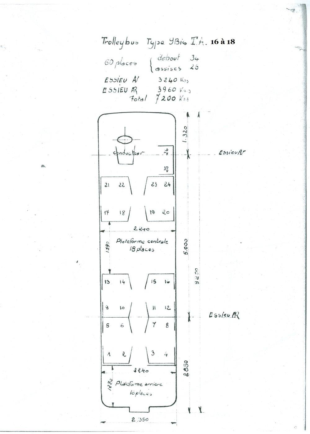 Základní výkres trolejbusů typu TA ev. č. 16 až 18. (zdroj: archiv Jean Capolini)