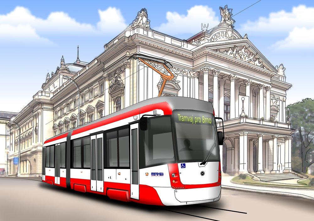 Návrh barevného řešení vozidla z dílny Pragoimexu. (zdroj: DPMB)
