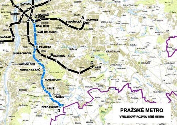 Celá navrhovaná trasa D pražského metra. Výstavba má začít už letos, avšak týkat se bude jen jediného mezistaničního úseku Pankrác-Olbrachtova, jehož stavba má zabrat více než 7 let. (zdroj: DPP)