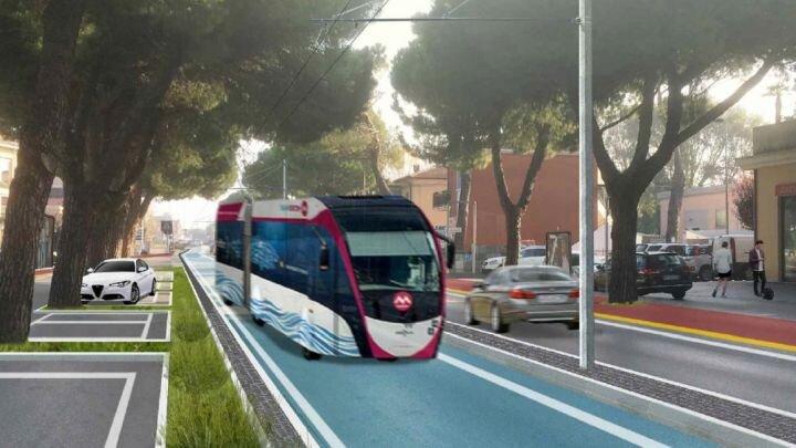 Vizualizace nové trati k Rimini Fiera s poněkud vachrlatým trolejbusem a podivně zaparkovaným automobilem. (zdroj: Comune di Rimini)