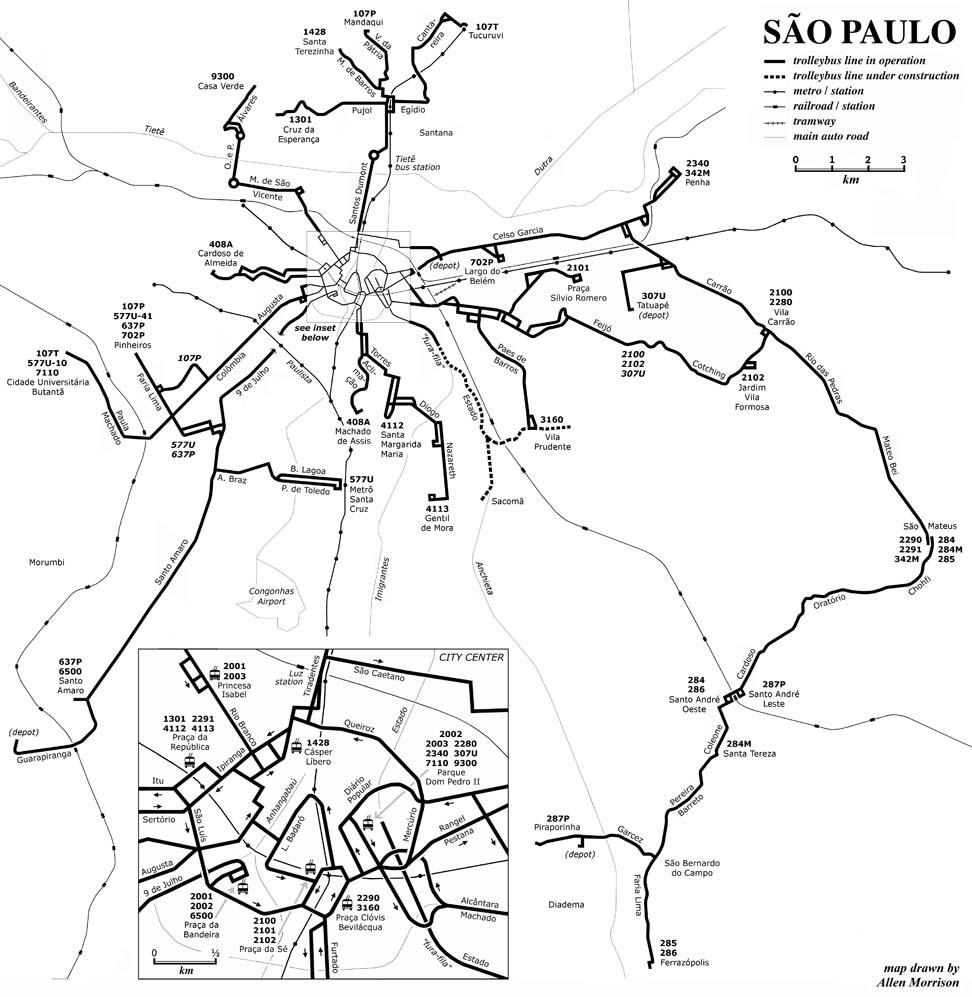 Na mapce zachycující stav místní trolejbusové sítě zhruba v roce 2002 lze vidět i krátký dokončený úsek projektu fura-fila. Tečkovaně jsou pak vyznačeny úseky, které byly dokončeny později a dnes po nich jezdí autobusy. V blízkosti koncových stanic sítě ve tvaru Y jsou BRT úseky v úrovni s okolím. (autor: Allen Morrison)