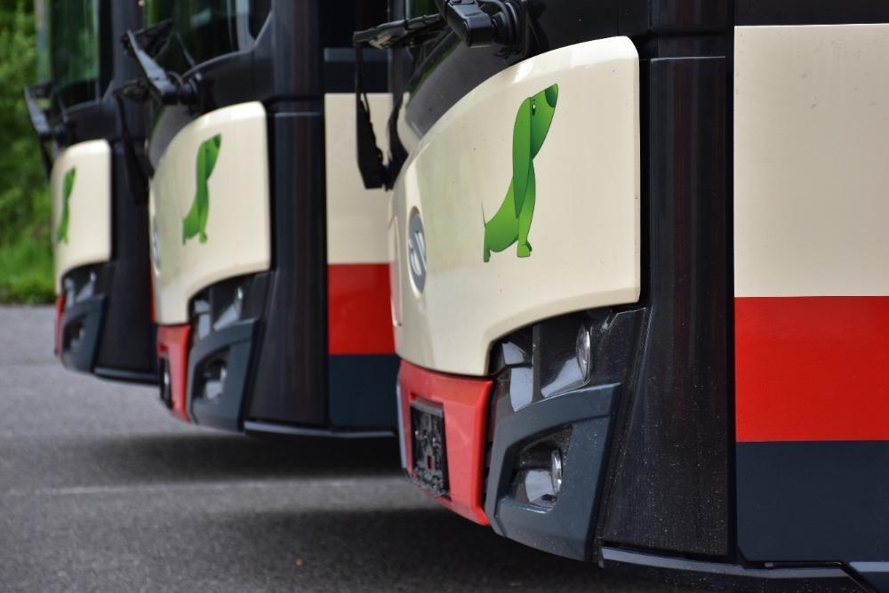 """Jezevčík na čele provází autobusy Urbino už z doby, kdy Solaris formálně neexistoval. Poprvé se objevil ještě na vozech z produkce Neoplanu Polska v roce 1998. Jezevčík byl tehdy vybrán jako symbol nízkopodlažnosti. Zdaleka ne všechny autobusy jsou ale s tímto symbolem dodávány a někteří dopravci dokonce přistoupili k odstranění """"zelených psů"""" i z dříve dodaných vozidel. (zdroj: DPMJ)"""