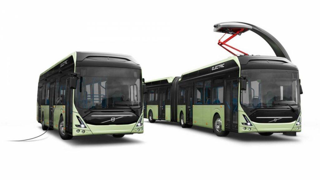 Elektrobusy Volvo 7900 Electric a 7900 Electric Articulated na propagačním obrázku výrobce. (foto: Volvo Buses)