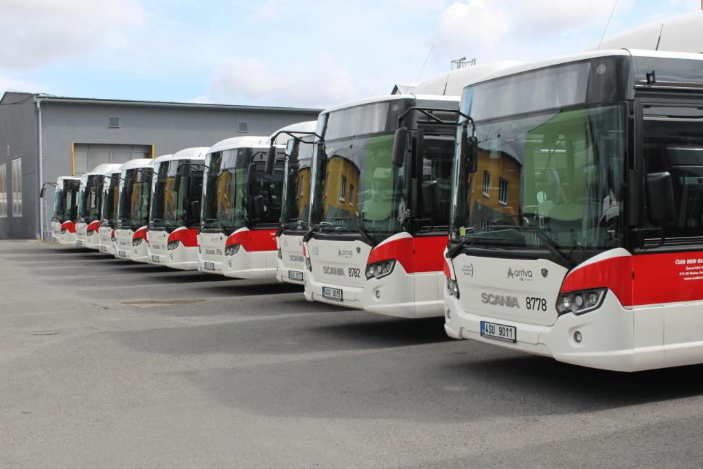 Flotila nových autobusů Scania Citywide LF pro ČSAD MHD Kladno. (foto: Scania)