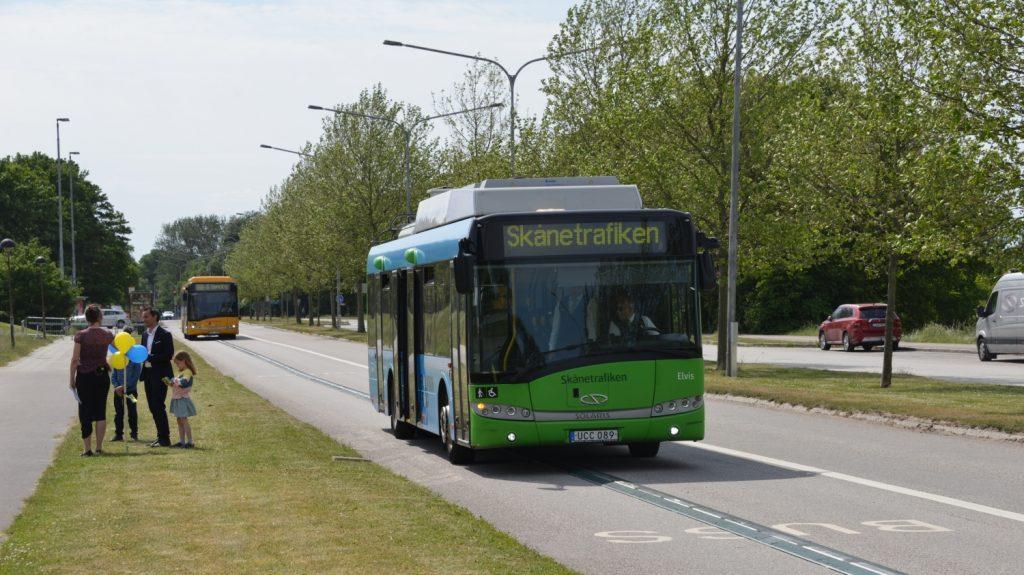 Trolejbus Solaris Trollino 12 z Landskrony během slavnostní prezentace dne 4 6. 2020 v Lundu. (foto: PG Andersson)