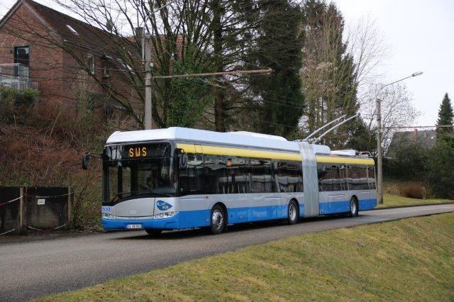 V současné době jsou v provozu v Solingenu pouze čtyři trolejbusy Trollino 18,75, a to ještě v provedení tzv. III. generace od Solarisu. (foto: Christian.walther; zdroj: Wikipedia.de)
