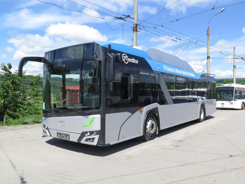 Trolejbus v cílové destinaci (foto: Primăria Mediaş)